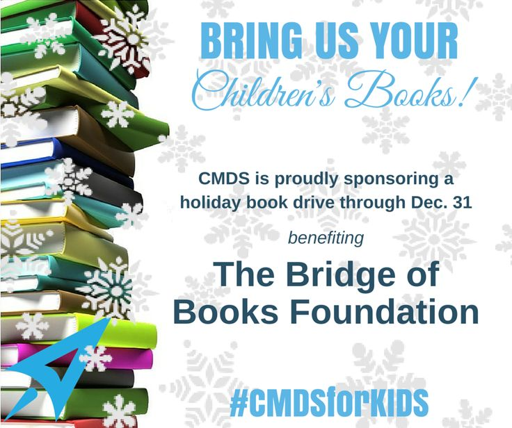 BRING US YOUR #ChildrensBooks!  CMDS is proudly sponsoring a  holiday  #bookdrive through December 31 benefiting @BridgeofBooks Foundation here in #NewJersey  Please #donate new and gently used #books for babies through high school. A collection box will be at our CMDS building:  265 Rte 34, Bld 2, #ColtsNeck Please call with any questions: 732-706-5555  http://www.cmdsonline.com/?p=44683 Share and TAG your friends in the area!  #CMDSforKIDS