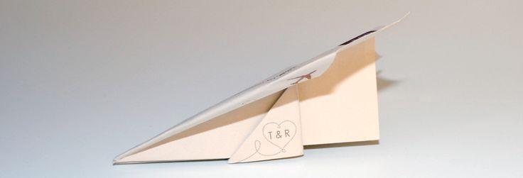 Paper Plane Wedding Invite Side View