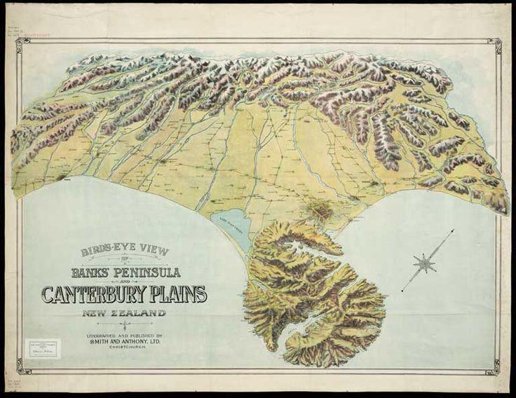Bird's eye view of Banks Peninsula and Canterbury Plains, New Zealand . [ca. 1900?]