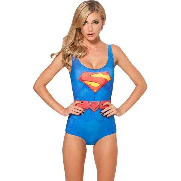 Blue Superman Bodysuit Swimsuit (135 DKK) ❤ liked on Polyvore featuring swimwear, blue, scoop neck bathing suit, print swimwear, blue swim suit, blue swimwear en print swimsuit
