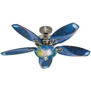H wants this!  Hunter Discovery 48 in. Indoor Brushed Nickel Ceiling Fan-52019.0 at The Home Depot
