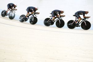 Britain's Edward Clancy, Steven Burke, Owain Doull and Bradley Wiggins compete in the men's team pursuit qualifying event