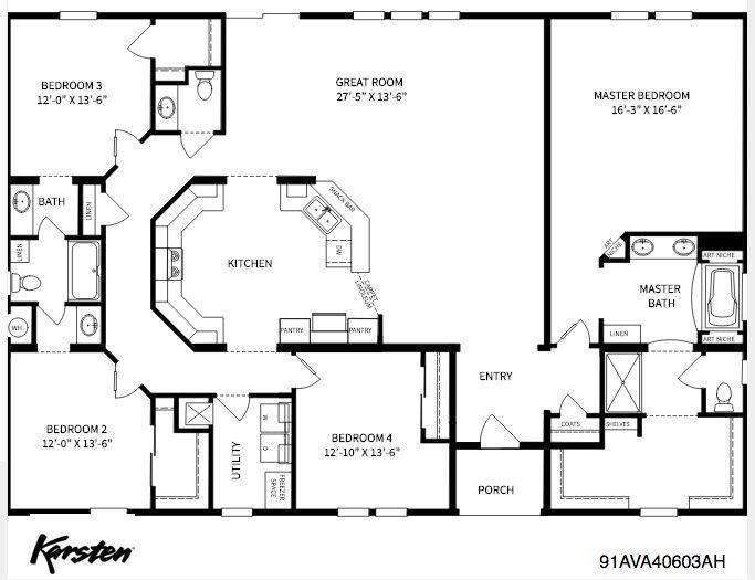 4 Bed 3 Bath Split Plan Barndominium Floor Plan Pole Barn House Plans Barndominium Floor Plans Metal Building House Plans