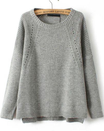 grey vintage knit | loose sweater | long sleeve