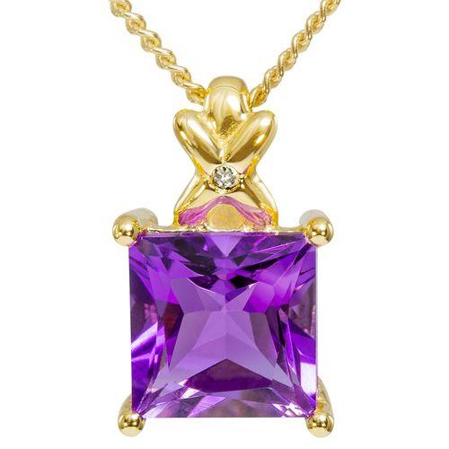 9ct Yellow Gold Princess Cut Amethyst  Diamond Pendant $72 - purejewels.com.au
