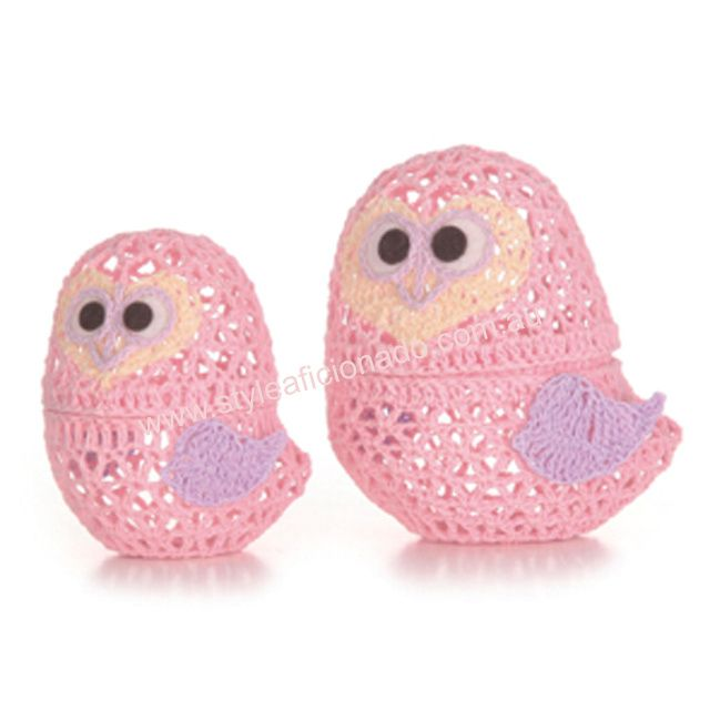 Pink Crochet Owls Nesting Jewellery or Treasure Boxes