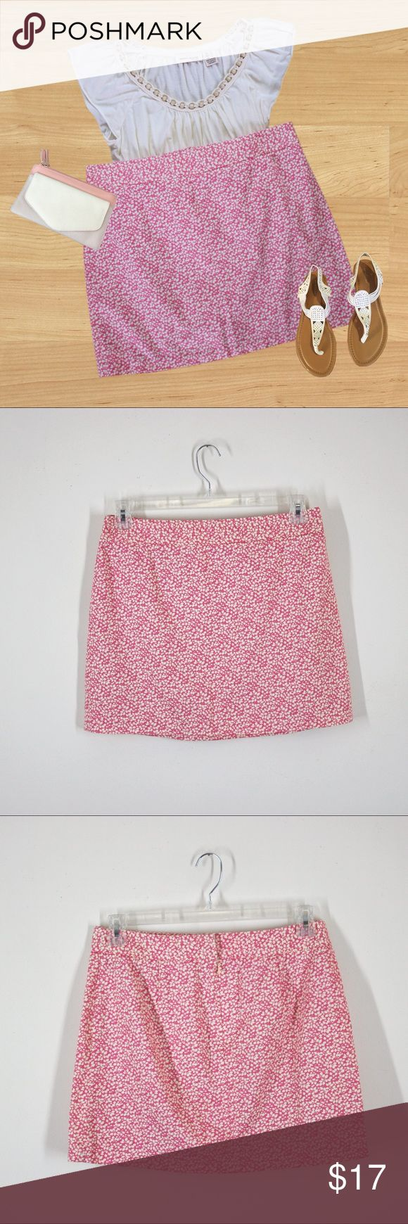 """J.Crew Pink Floral Skirt This skirt is so cute and feminine!  * Colors - Off-white and pink (The last 3 pictures best represent the color) * Back zip with hook and eye closure * Waistband * Stretchy  * 100% cotton   MEASUREMENTS (Approximate)  * Waist 32"""" * Hips 39"""" * Length 15.5""""  This skirt by J.Crew has been preloved, well cared for, and is in great condition. It is a size 8. Thank you for looking, and feel free to make a reasonable offer! J. Crew Skirts Mini"""