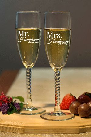 Personalized Mr. and Mrs. Engraved Champagne Flute Set with Twisted Stem - Cheap Favor Shop