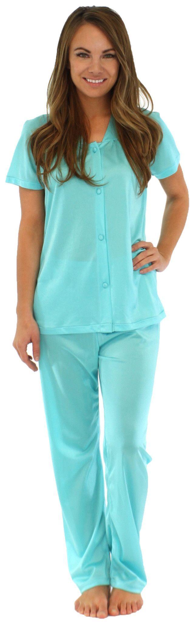 PajamaMania Women's Short Sleeve Nylon Pajama Set