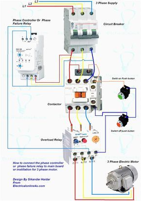 wiring diagram for motor starter 3 phase controller failure relay 3 Phase Electricity Diagram