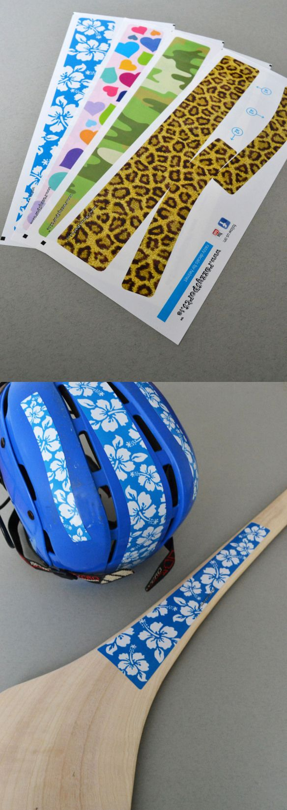 Glam up your hurley and helmet with these decals designed by us for Razzy Sports, available in a variety of patterns. www.akgraphics.ie