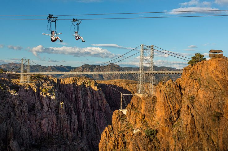 Zipline at the Royal Gorge in Cañon City, Colorado. America's highest zip line