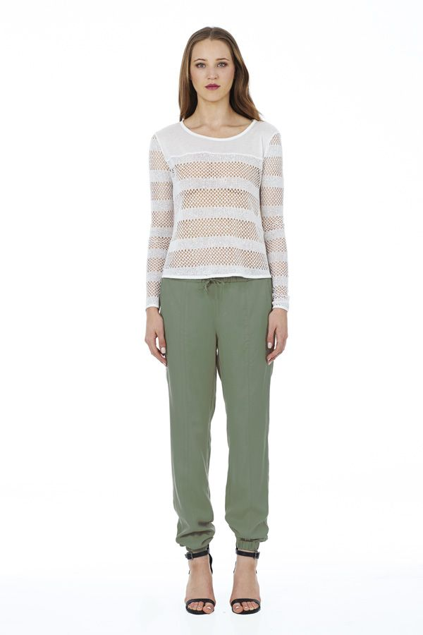 Strike Out Knit in White with Roadtrip Pant in Khaki