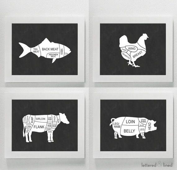 SET di quattro stampe di selezione macellai - cucina, tagli di carne, macellaio, pollame, maiale, manzo, bistecca, pesce, scelta del macellaio, grafico, diagramma