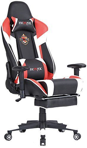 Ficmax High-back Large Size Desk Chair Swivel for Gaming including Lumbar Massager Support and Retractible Footrest (Red/White) #Ficmax #High #back #Large #Size #Desk #Chair #Swivel #Gaming #including #Lumbar #Massager #Support #Retractible #Footrest #(Red/White)