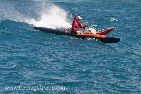 Outrigger Canoe one man OC-1 Black Scorpius paddler on Kauai photo by Ray Gordon. This article is about photo attribution and watermarking.
