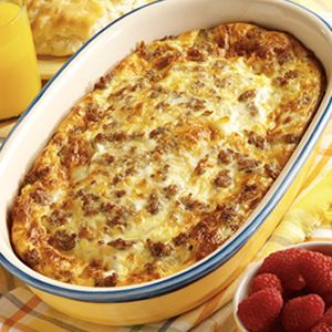 Weekend Brunch Casserole: Crescent rolls on the bottom of a sprayed pan, then sausage crumbles, 2 cups of mozzarella cheese, then whip 6 eggs and 1 cup of milk together pour over the top and bake on 425* for 20 minutes. Season with salt and pepper over the top.
