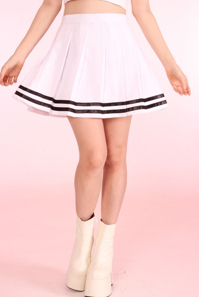 Image of Made to order - White Cheer Skirt with Black Stripes