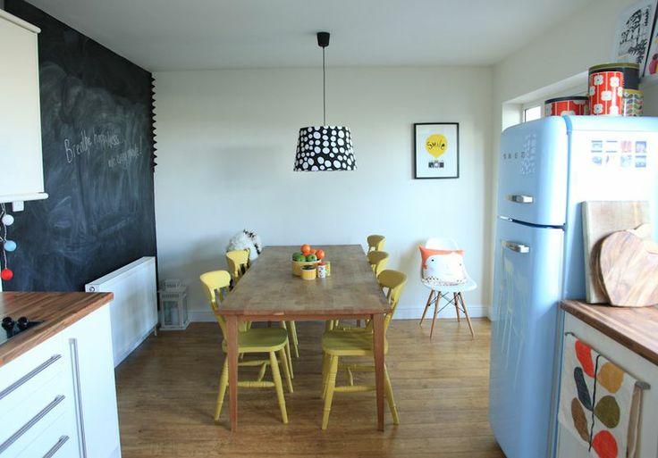 blackboard wall, country kitchen table, smeg fridge
