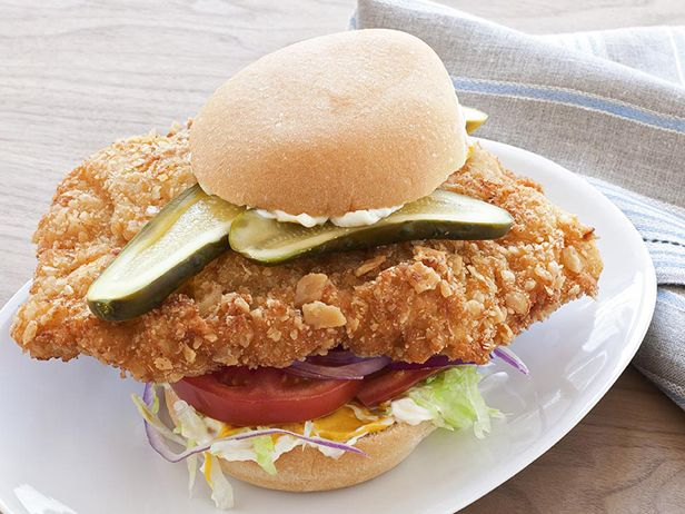 Hoosier Pork-Tenderloin Sandwich Recipe : Food Network Kitchens : Food Network - FoodNetwork.com