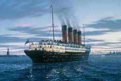 PBS Online - Lost Liners - Lusitania sets sail from New York.  The Lusitania was the sister ship of the RMS Mauretania.