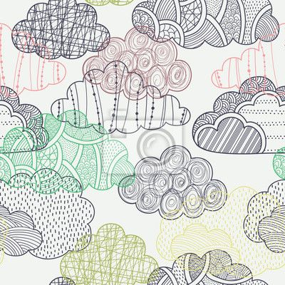 "Wall Mural ""cloud, seamless, autumn - clouds seamless pattern"" ✓ Easy Installation ✓ 365 Days Money Back Guarantee ✓ Browse other patterns from this collection!"