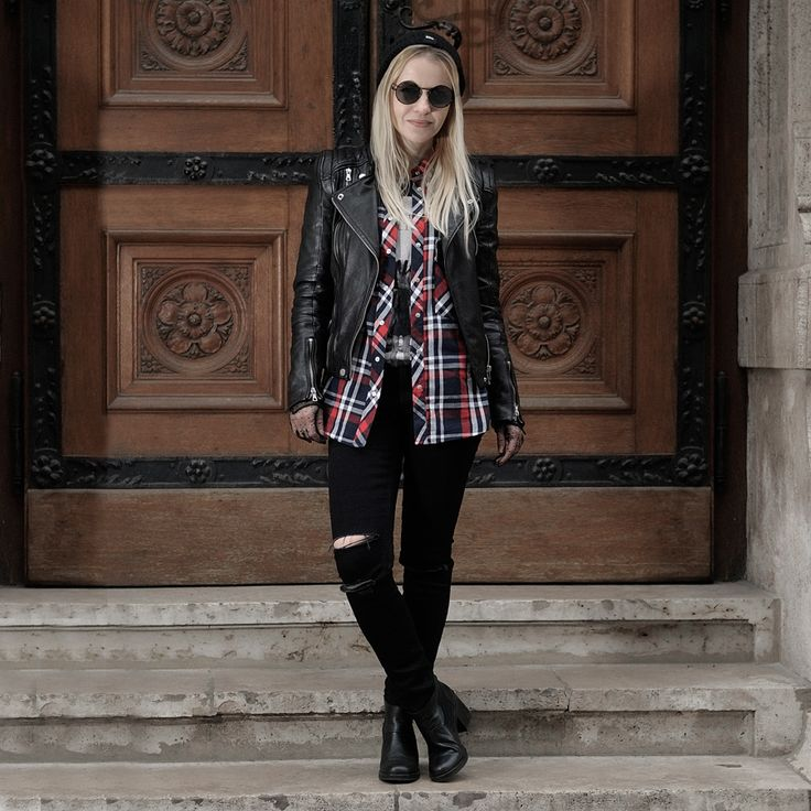 nineties grunge layered look leather biker check shirt round shades ripped jeans