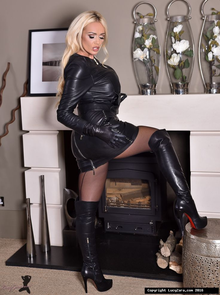 Lucy Zara in leather outfit, boots and gloves