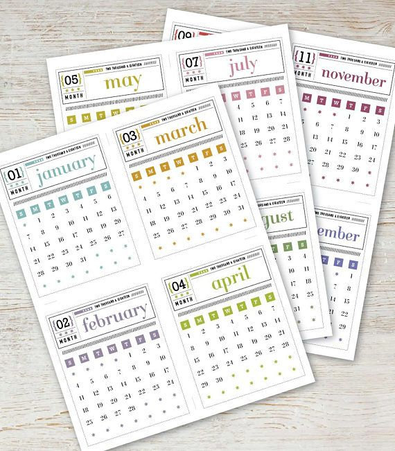 Matchbox Printable Mini Calendar 2020 2021 Digital Instant Download Vintage Typography Retro Typewriter Organizer Planner Downloadable Pdf Mini Calendars Digital Calendar Calendar Design