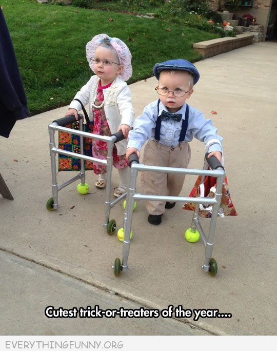 funny adorable kids dressed as old people with walkers