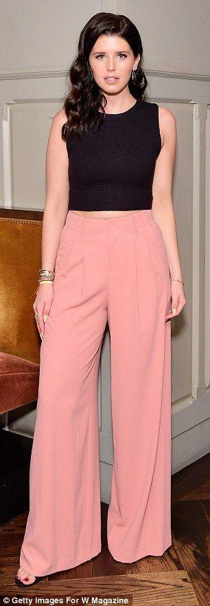 Katherine Schwarzenegger, 27,chose wide-legged salmon trousers...