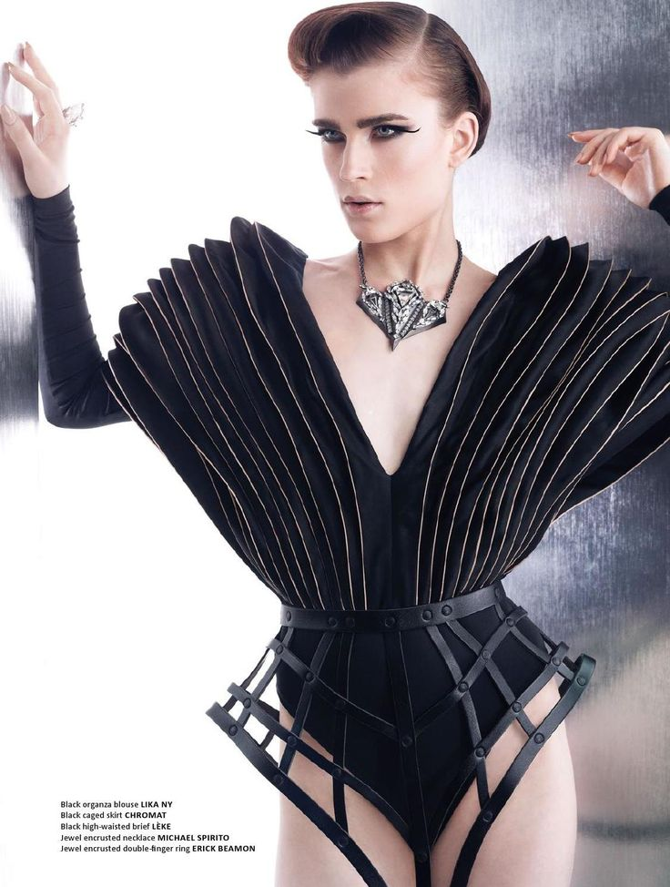 Sculptural Fashion - layered 3D top & caged skirt; avant garde fashion // Lika NY + Chromat
