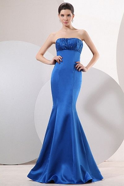 Strapless Trumpet-Mermaid Satin Graduation Gown wr2478 - http://www.weddingrobe.co.uk/strapless-trumpet-mermaid-satin-graduation-gown-wr2478.html - NECKLINE: Strapless. FABRIC: Satin. SLEEVE: Sleeveless. COLOR: Blue. SILHOUETTE: Trumpet/Mermaid. - 140.59