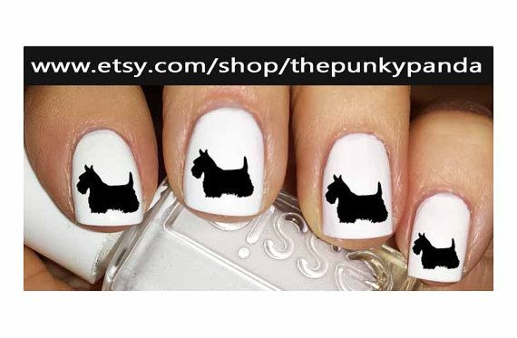 Buy 2 Get 1 Free-180 Decals Total-60 Nail Decals Per Set - SCOTTIE Scottish Terrier Dog - Nail Art