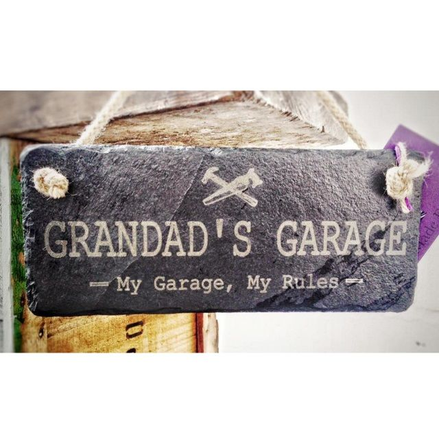 """Grandad's Garage"" Slate Hanging Sign with Rope by Platters Slate"