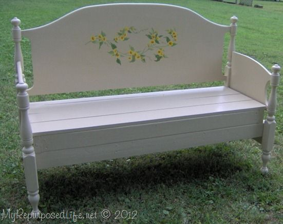 full sized maple headboard bench headboard bench diy pinterest repurposed beds and how to. Black Bedroom Furniture Sets. Home Design Ideas