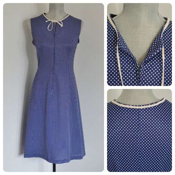Vintage Nautical Day Dress, White Polka Dots on Navy Blue, Natural Cotton Rope Detail, V Neck, by EclecticLoveVintage