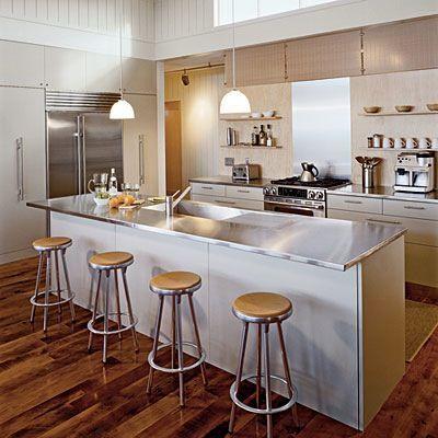 As Bancadas De Aço Inoxidável, Remodelar Banho, Casas De Praia, Interiores  Modernos, Cozinha Aberta, Idéias Cozinha, Cozinhas, Home Decorating Part 66