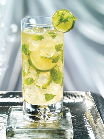 Golden Mojito-As served at The Fairmont Royal Pavilion:    1¾ oz (50 ml) Mount Gay rum  1⁄3 oz (10 ml) fresh lime, juiced  2 bar spoons brown sugar  12 fresh mint leaves  Ginger ale    (photo and recipe-Fairmont Hotels & Resorts)