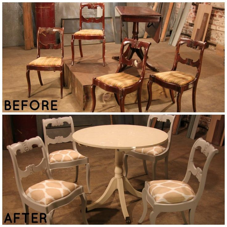 Before, this dining set was dark and dreary, but Lara noticed the great detail and craftsmanship in the chairs so she revived them with some paint and new fabric.