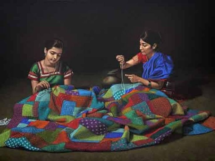 """Painted with coloured pencils by an """"uneducated"""" but a very talented person Shri Shashikant Dhotre from Sholapur"""