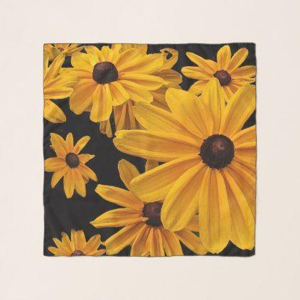 Black-Eyed Susan Flowers Floral Chiffon Scarf -nature diy customize sprecial design