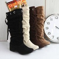 Wish | Womens Ladies Fashion Faux Suede Slouchy Boho Fringe Calf Boots Shoes Flat Heel Boots Lady Winter Boots