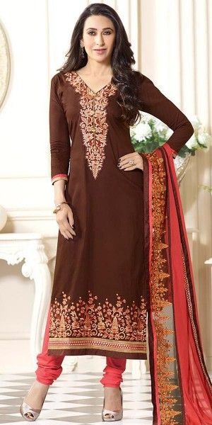 Karishma Kapoor Brown And Peach Cotton Salwar Suit With Dupatta.