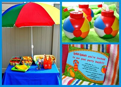 Beach umbrella sets the mood and adds a pop of color.