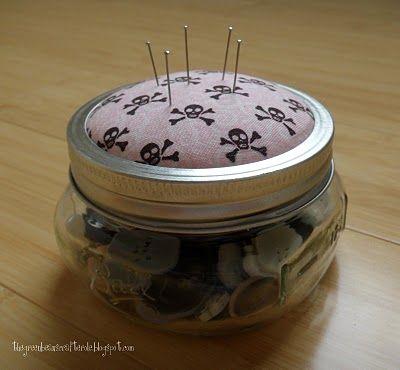 make a mason jar pincushion jar