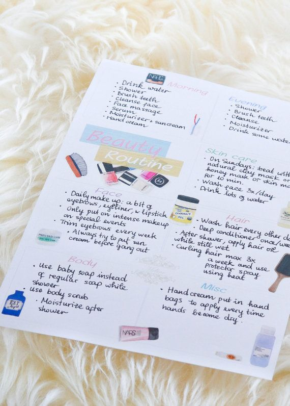 Beauty Routine Printable, A4 and A5   ShopAtMeline