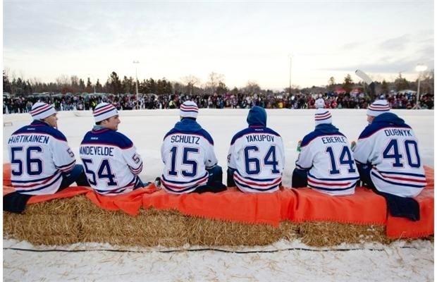 Oilers playing pond hockey!