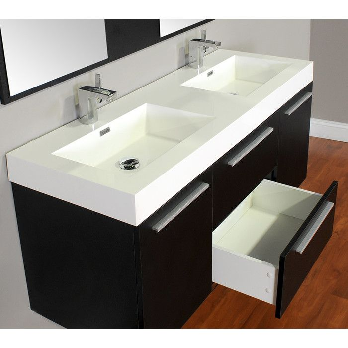 """You'll love the Ripley 54"""" Double Wall Mount Modern Bathroom Vanity Set at Wayfair - Great Deals on all Home Improvement  products with Free Shipping on most stuff, even the big stuff."""