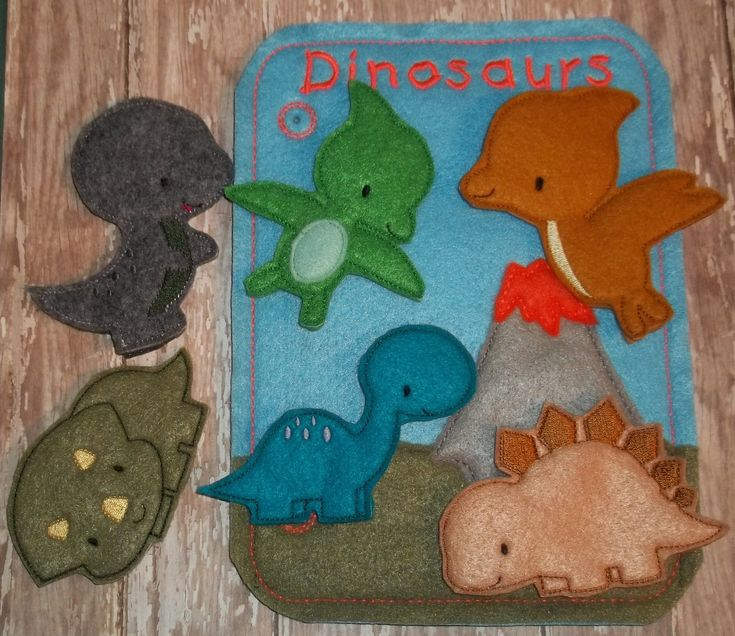 Dinosaur Finger Puppets Felt  Quiet Busy Book Page Travel Set School Felt Board comes w 6 finger puppets  and optional Volcano Bag Game Kid by cabincraftycreations on Etsy
